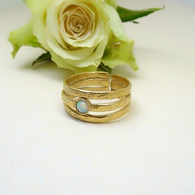 Gold plated silver ring - White opal