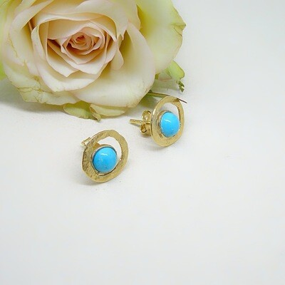 Silver ear studs - Turquoise