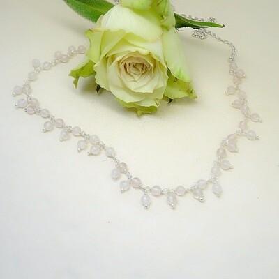 Zilver necklace - Pink Quartz pearls