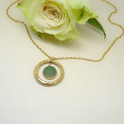 Gold plated silver pendant - Aventurine stone