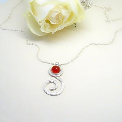 Silver pendant - Carnelian