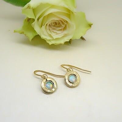 Silver earrings - White Opal
