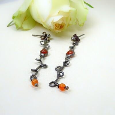 Silver earrings - Carnelian