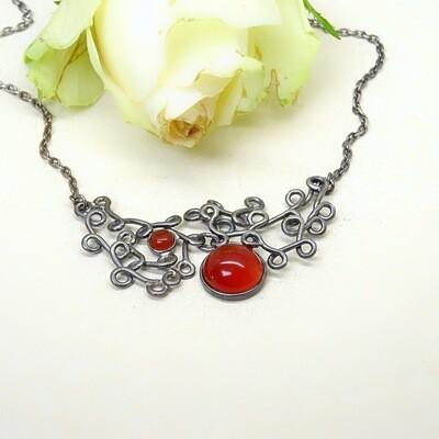 Silver necklace - Carnelian