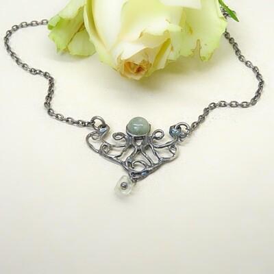 Silver necklace - Aquamarine