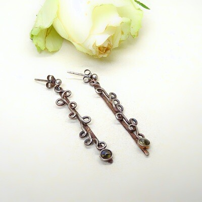 Silver earrings - Labradorite
