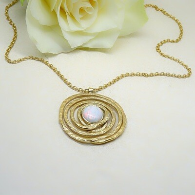 Gold plated silver pendant - White Opal