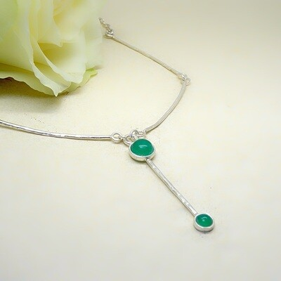 Silver necklace - Green Onyx