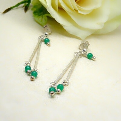 Silver earrings - Green Onyx