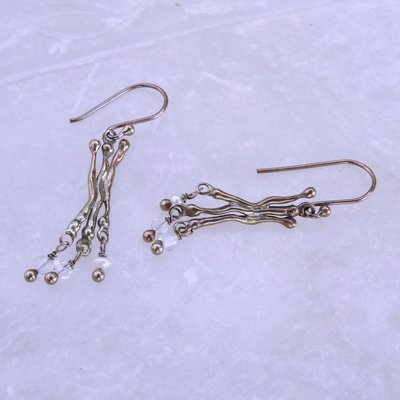 Silver earrings with gray patina