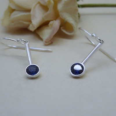 Silver earrings - Sapphire Zirconia