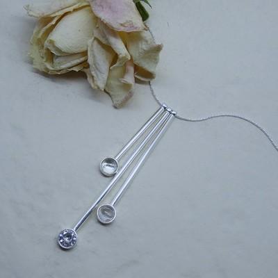 Silver pendant - Crystal stones