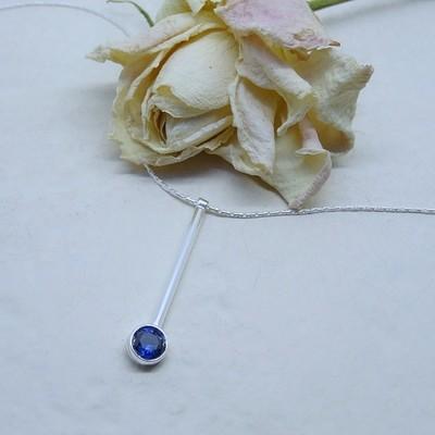 Silver pendant - Sapphire Zirconia stones