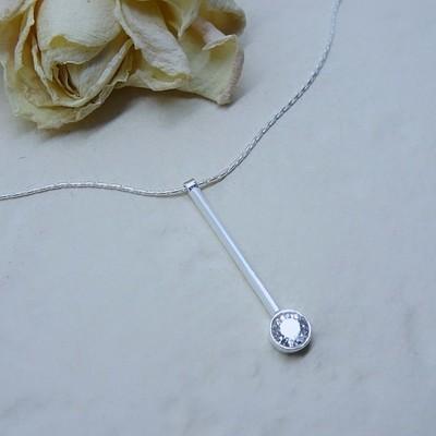 Silver pendant - Crystal Zirconia stones