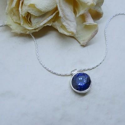 Silver pendant - Sapphire Zirconia stone