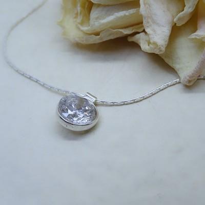 Silver pendant - Crystal Zirconia stone