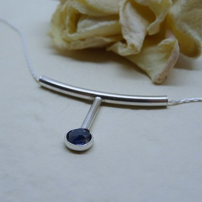 Silver pendant - Sapphire Zirconia