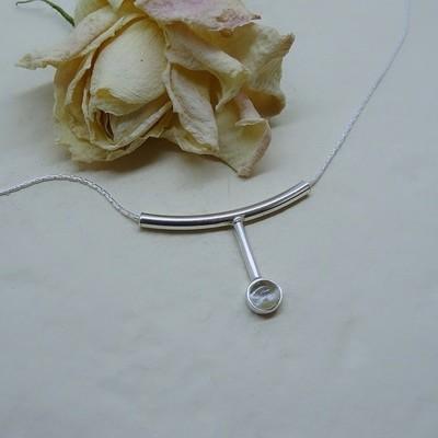 Silver pendant - Zirconia stone