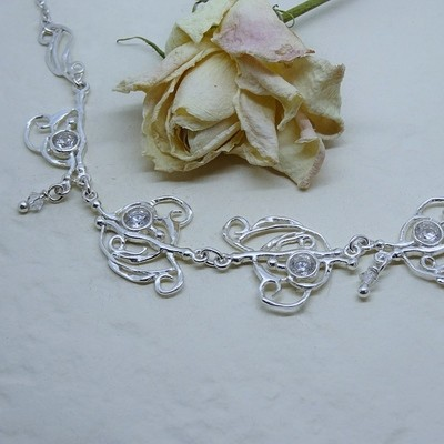 Silver necklace - Crystal stones