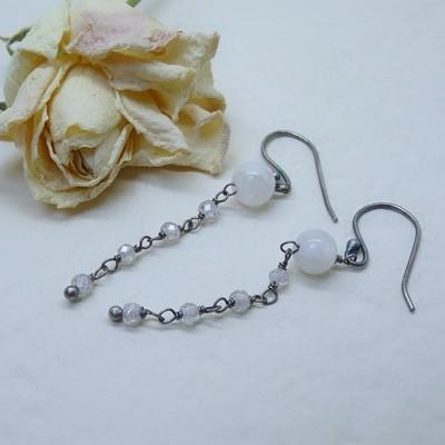Silver earrings - Crystal stones