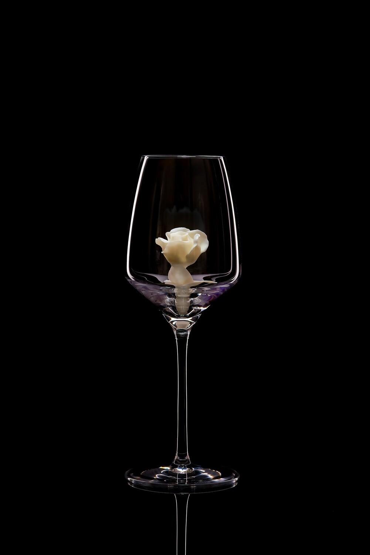 Бокал для белого вина – Белая роза бутон.