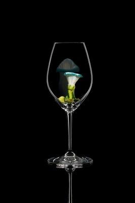 Бокал для шампанского Вьюнок синий, стекло Ридель