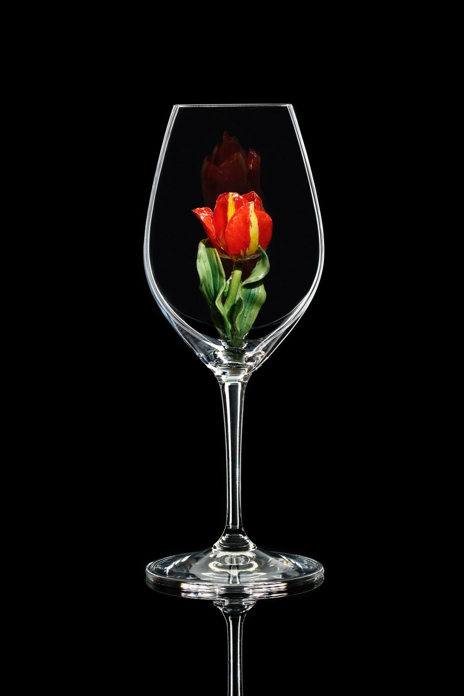 Бокал для шампанского Тюльпан красный, стекло Ридель.