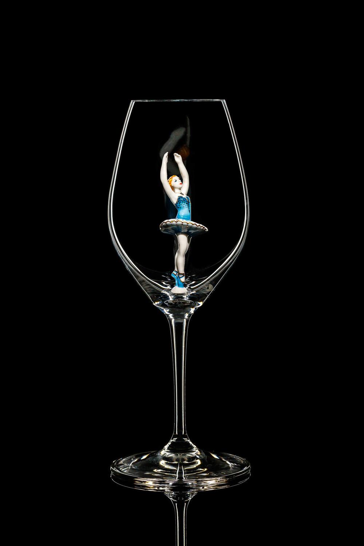 Бокал для шампанского, балерина в голубом. Стекло Ридель.