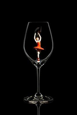 Бокал для шампанского, Балерина в красном. Стекло Ридель.