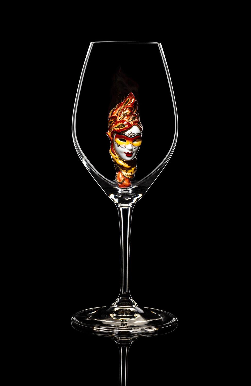 Бокал для шампанского - Маска (золотая). Стекло Ридель.