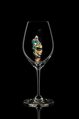 Бокал для шампанского - Маска (чёрная). Стекло Ридель.
