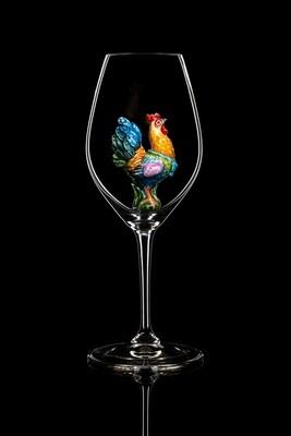 Бокал для шампанского и белого вина Пасха (Петух).Стекло Ридель