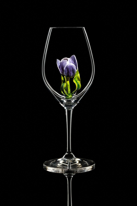 Бокал для шампанского Тюльпан фиолетовый, стекло Ридель.
