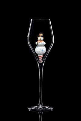 Бокал для шампанского Снеговик.