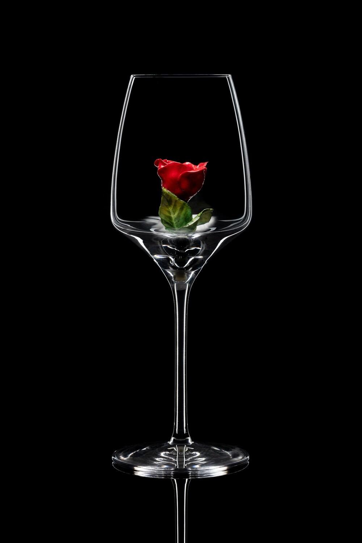 Бокал для белого вина Роза бутон красная
