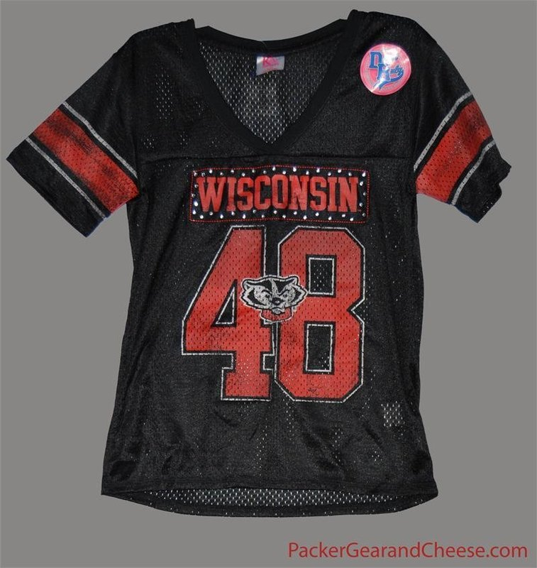 Ladies' Wisconsin Badgers Black Jersey