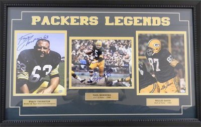 Packers Legends Thurston, Hornung, and Davis Framed Autographed Photos