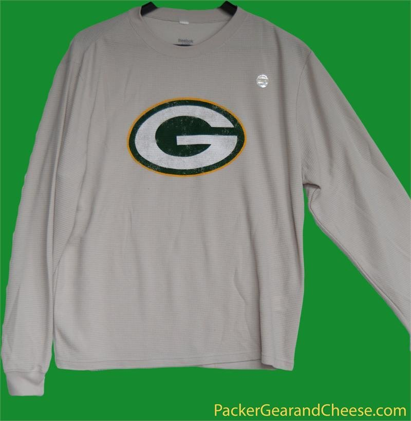 Green Bay Packers Beige Long Sleeve Thermal Shirt