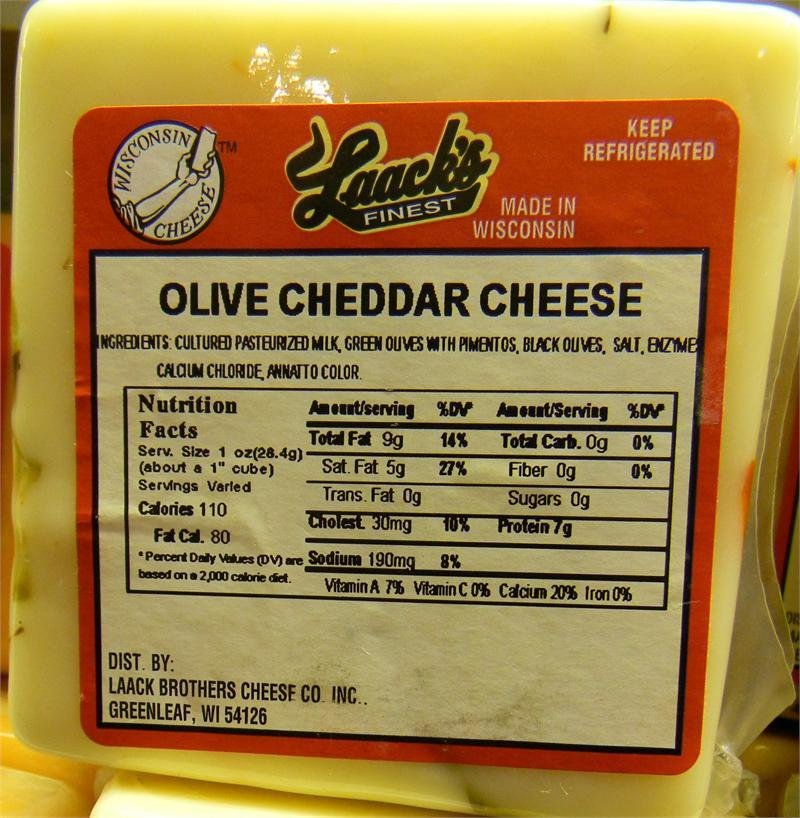 Laack's Finest Olive Cheddar Cheese