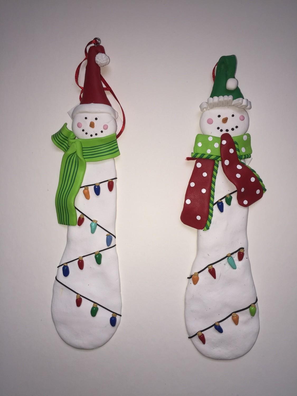 Claydough Snowmen Ornaments, Set of 2