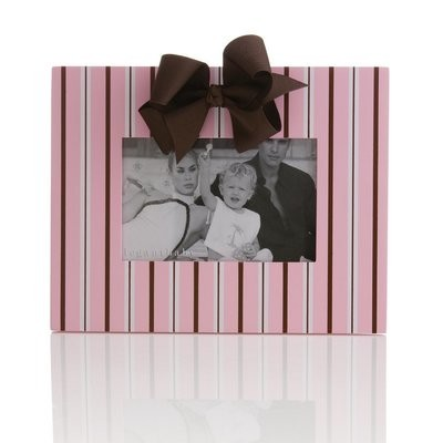 Elegant Baby Striped Picture Frame, Pink