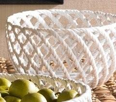 White Ceramic Rope Serving Bowl
