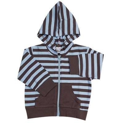 Chocolate w/Blue Stripes Hooded Jacket