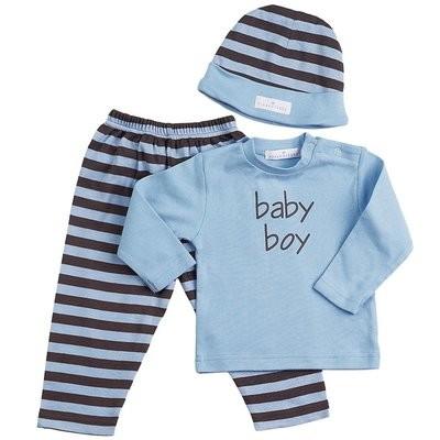 Chocolate w/Blue Stripes 3-Piece Fashion Set