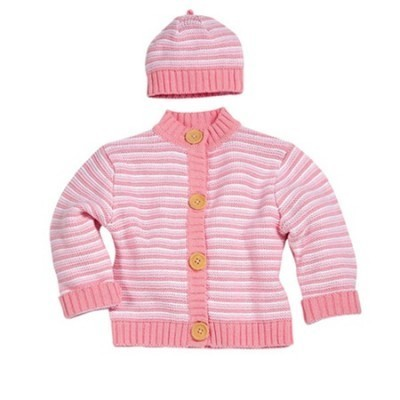 Pink Multi Striped Knit Sweater Cardigan w/ Matching Beanie Set
