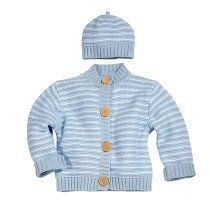 Blue Multi Striped Knit Sweater Cardigan w/ Matching Beanie Set
