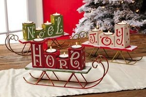 Happy Holidays Wooden Sled Tea-lite Candle Holders