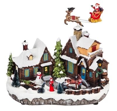 Musical Christmas Village w/Santa LED Scene