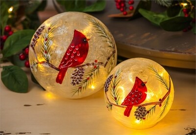 Glass Hand painted Cardinal and Pinecones LED Globes, Set of 2