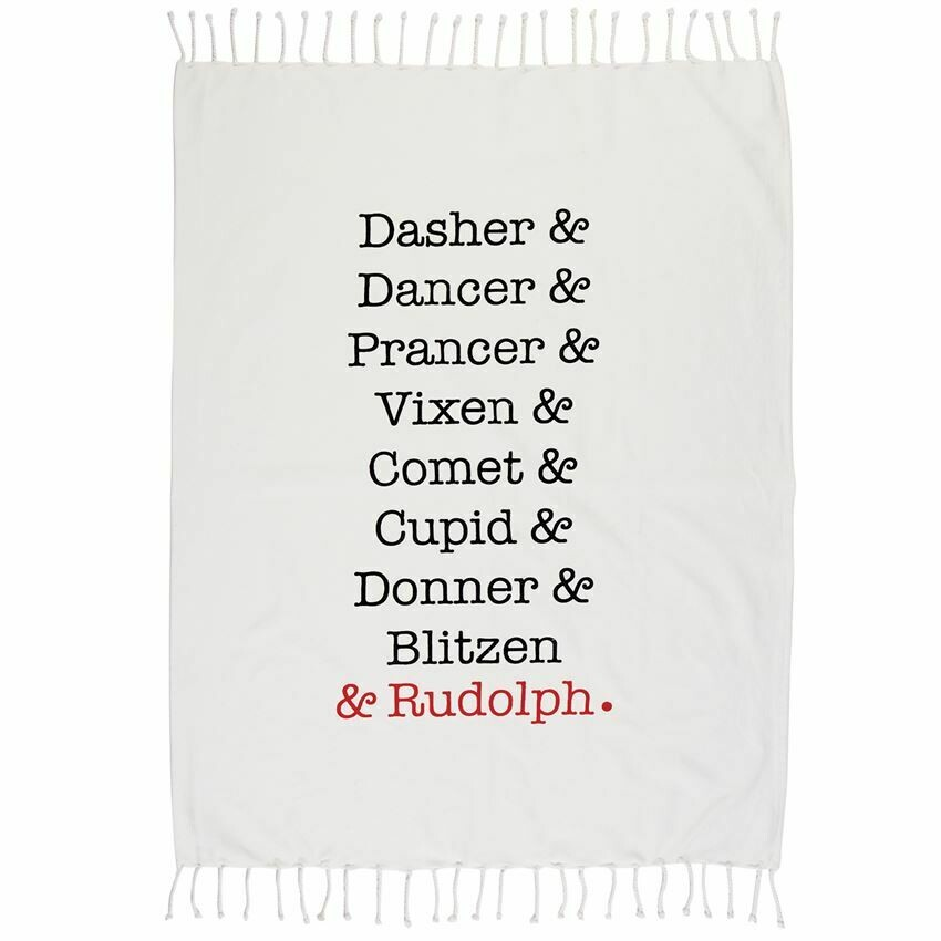 Reindeer Names Throw Blanket